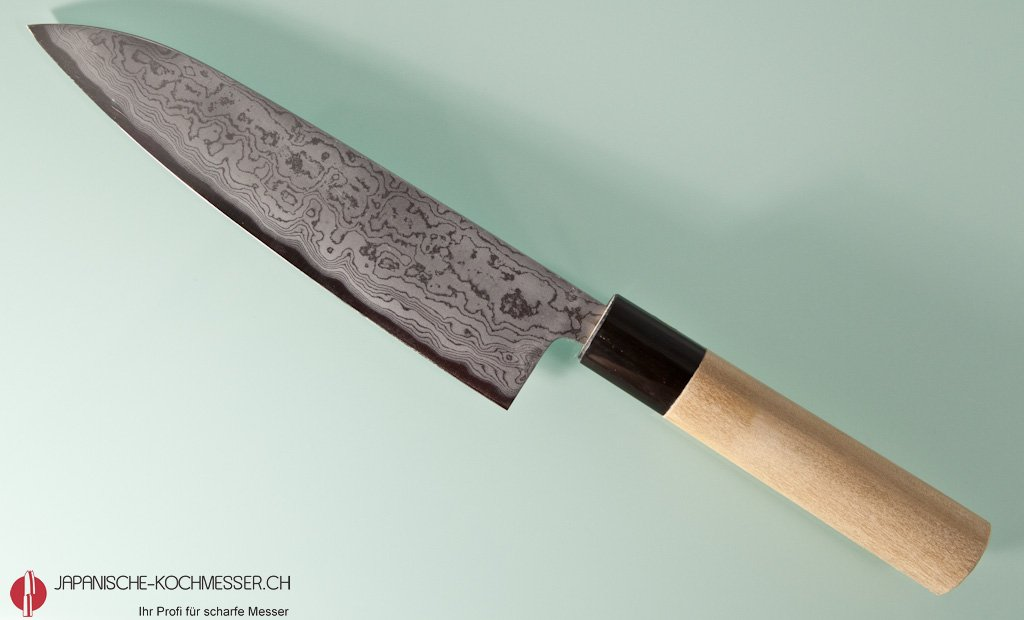 chefmesser suminagashi hayashi aogami 2 damascus gyuto 180mm japanische. Black Bedroom Furniture Sets. Home Design Ideas